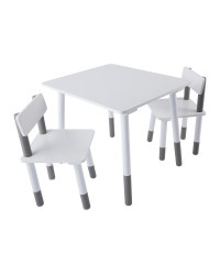 Children's Grey Table & Chairs Set