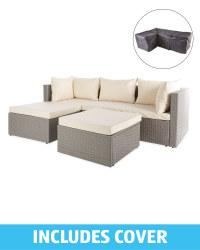 Cream/Grey Rattan Sofa With Cover
