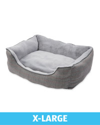 X-Large Plush Grey Check Dog Bed