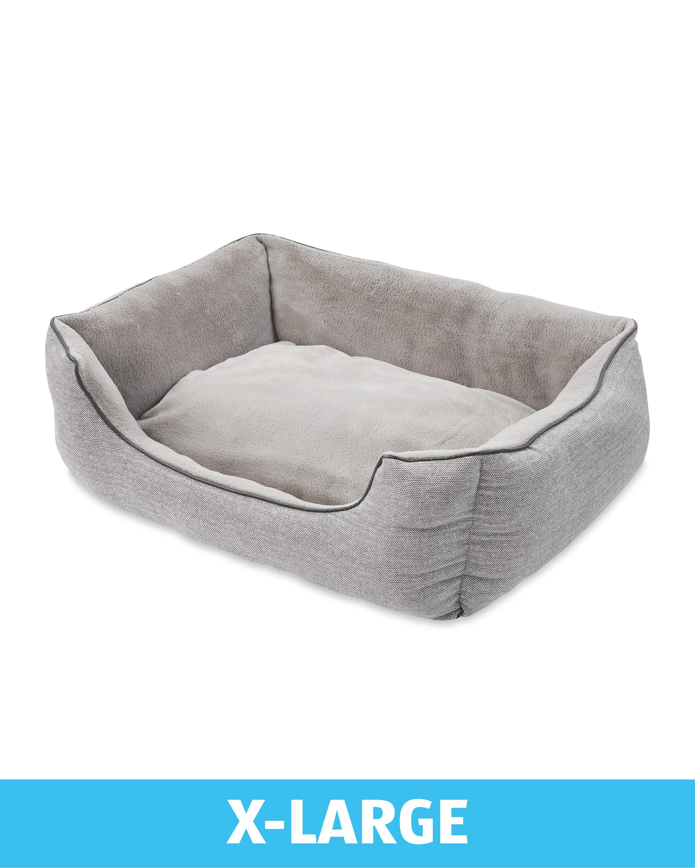 X-Large Grey Herringbone Dog Bed
