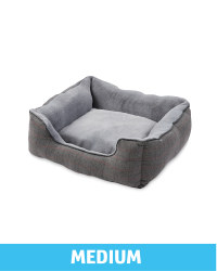 Medium Plush Grey Check Dog Bed