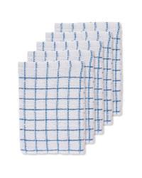 Blue Terry Tea Towels 5 Pack
