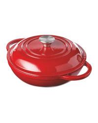 Red Cast Iron Shallow Casserole Dish
