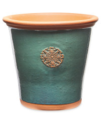 Green Glazed Pot With Terracotta Rim