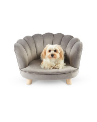 Grey Scalloped Pet Chair