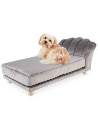 Grey Scalloped Pet Bed
