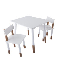 Children's White Table & Chairs Set