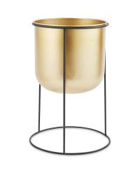 Gold Metal Pot & Stand