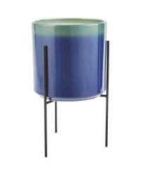 Reactive Blue Pot & Stand