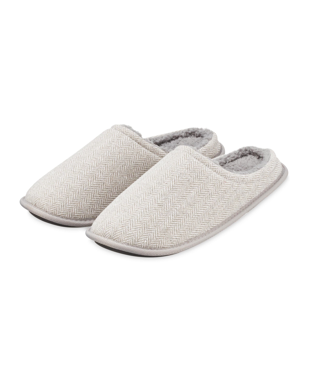 Grey Woven Memory Foam Slippers