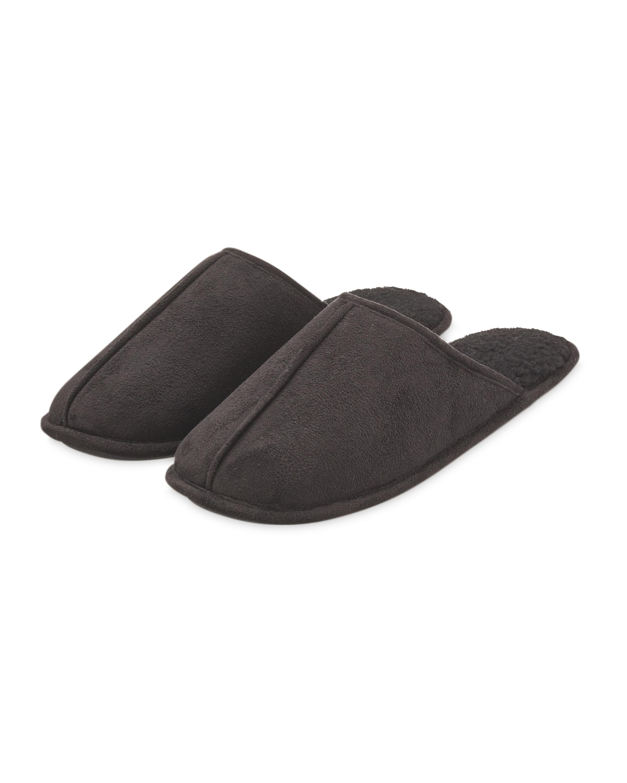 Black Fibre Memory Foam Slippers