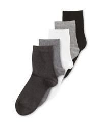 Black/Grey Organic Cotton Socks 5 Pk