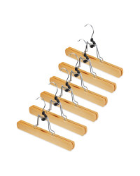 Natural Wood Trouser Hangers 6 Pack