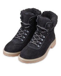 Ladies' Black Lined Lace Up Boots