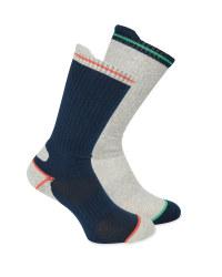 Men's Navy/Grey Work Socks 2 Pack