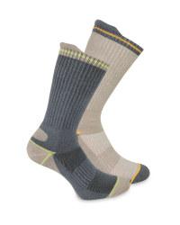 Men's Grey/Beige Work Socks 2 Pack