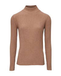 Ladies' Brown Stand Up Collar Jumper