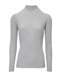 Ladies' Grey Stand Up Collar Jumper