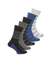 Men's White/Grey/Blue Striped Socks