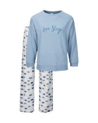 Ladies' Blue Love Sleep Pyjamas
