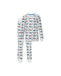 Kids' Organic White Cars Pyjamas