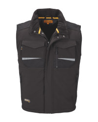 Men's Workwear Black Softshell Gilet