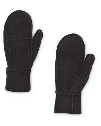 Ladies' Lambskin Black Mittens