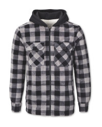 Men's Grey Check Sherpa-Lined Shirt