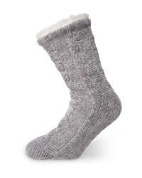 Ladies' Grey Chenille Socks 4-8
