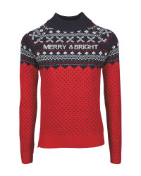 Ladies' Red Merry Christmas Jumper