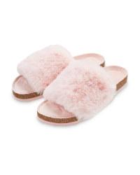 Avenue Ladies' Pink Fur Sliders
