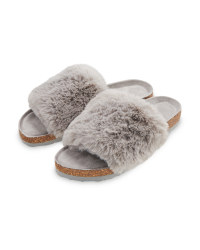 Avenue Ladies' Grey Fur Sliders