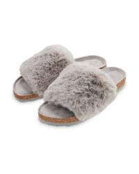 Avenue Ladies' Grey Fur Sliders