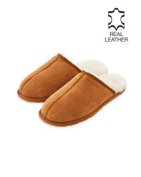 Men's Tan Sheepskin Slippers