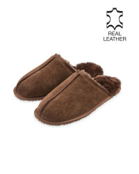 Men's Dark Brown Sheepskin Slippers