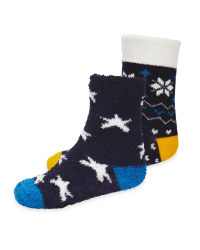 Lily & Dan Kids' Blue Slipper Socks