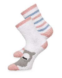 Avenue White Fluffy Socks 2 Pack
