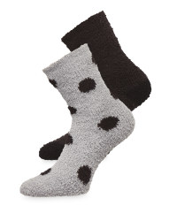 Avenue Grey Dot Fluffy Socks 2 Pack