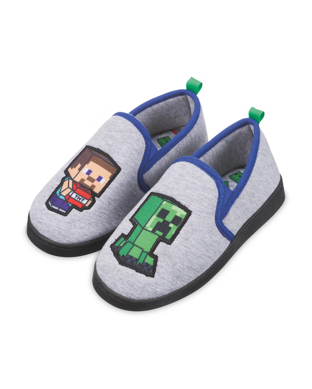 Kids' Grey/Blue Minecraft Slippers