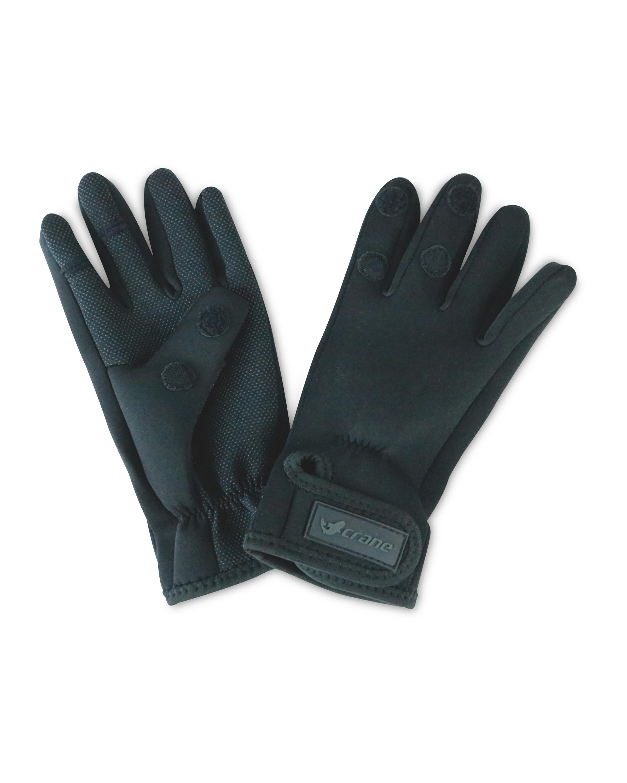 Crane Black Two Fold Fishing Gloves