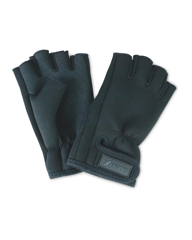 Black Fingerless Fishing Gloves
