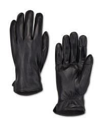 Men's Plain Black Leather Gloves