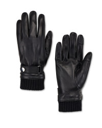Men's Rib Black Leather Gloves