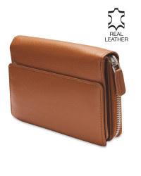 Avenue Luxury Leather Cognac Purse