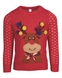 Kids' Red Reindeer Xmas Jumper
