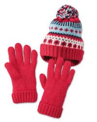 Pink Pom Hat & Gloves Set 7-10 Years