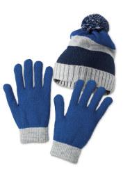 Stripe Hat/Gloves Set 7-10 Years