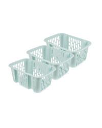 Teal Small Basket 3 Piece Set