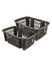 Dark Grey Large Basket 2 Piece Set