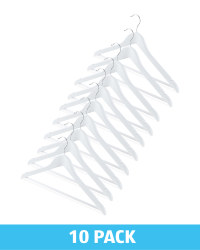 White Wooden Clothes Hangers 10 Pack